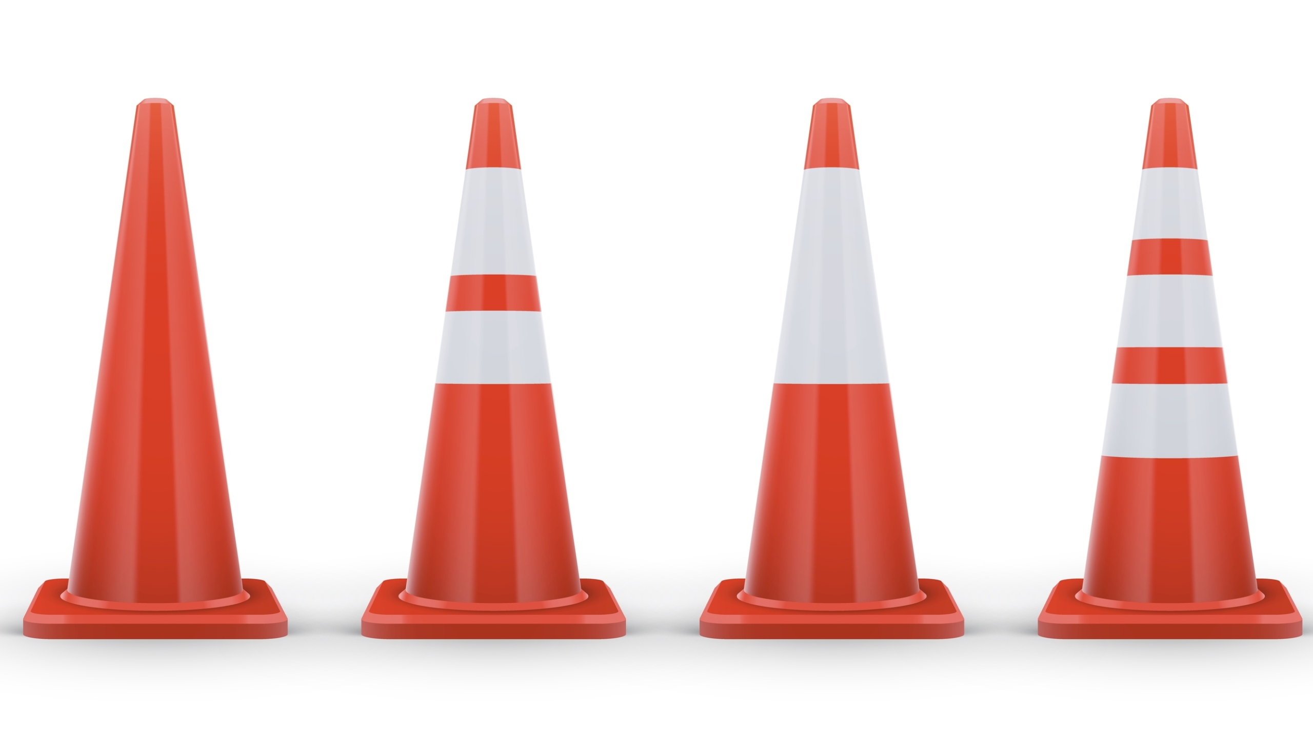 Set Of Road Cones With White Stripes_1553297606823
