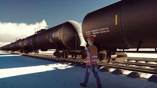 Oil worker walks past the railway with Rail tank cars driving on_1556653386774