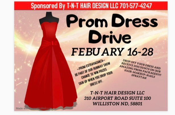 T N T Hair Design In Williston Holding Prom Dress Donation Drive Kx News